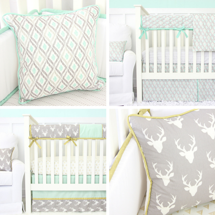Neutral Mint & Gray Baby Bedding