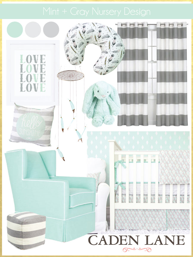 Mint & Gray Boy Nursery Design