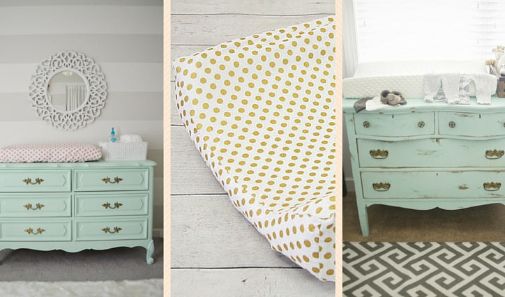 Mint dressers  with gold dot changing pad cover