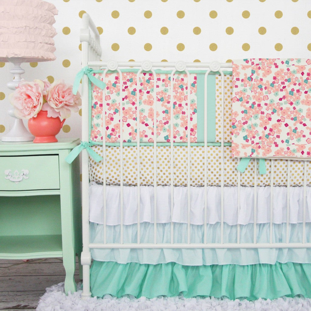 Gold crib for sale - Coral Mint Gold Floral Baby Bedding