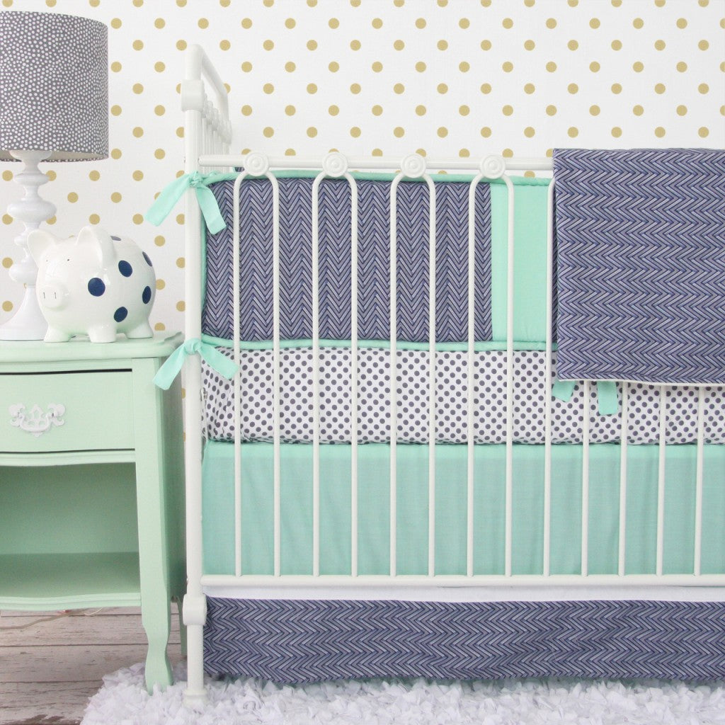 Mint and Navy Chevron Crib Set