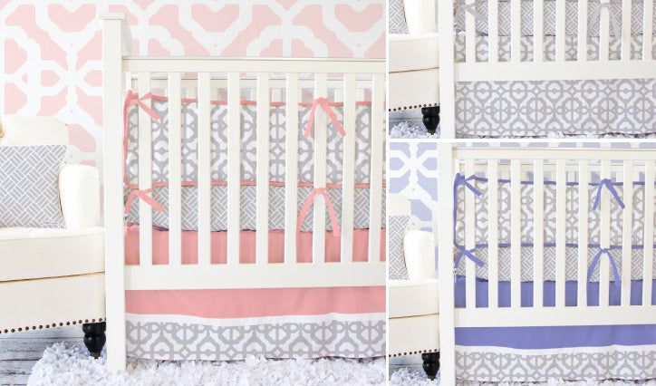 Mod Lattice Gray and White with an Accent Color for sweet baby girl crib bedding