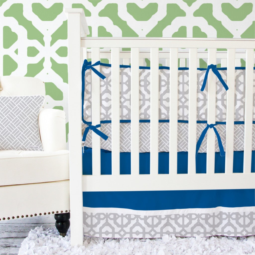Navy And Gray Mod Baby Bedding