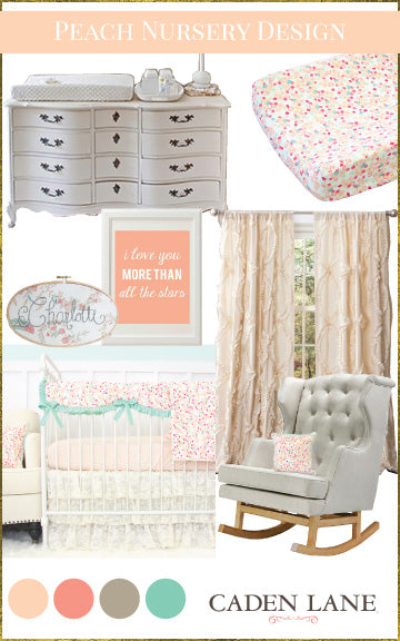 Peach Nursery Design Board with Peach Baby Bedding
