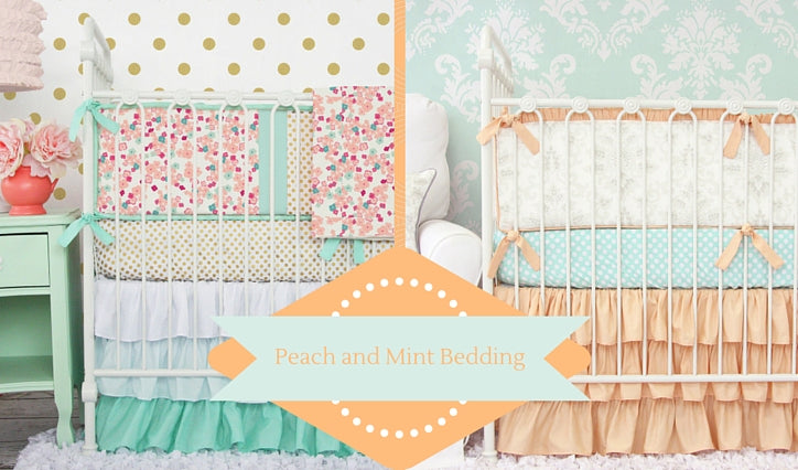 Peach and Mint nursery bedding