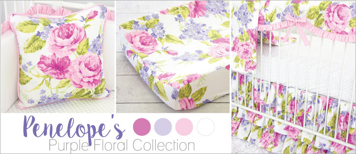 purple floral crib bedding for a girl