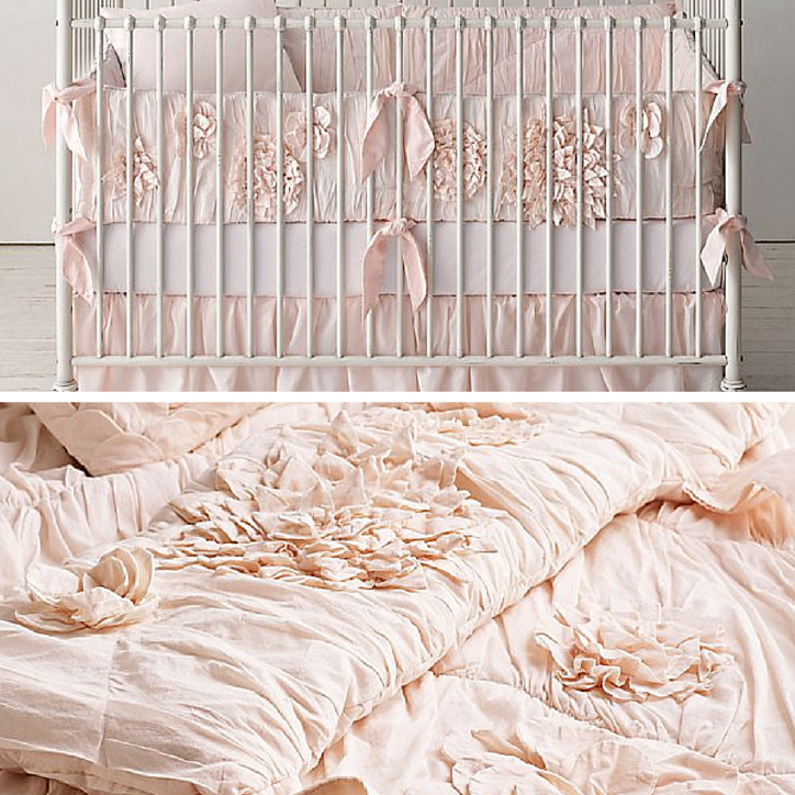 Soft pastel pink nursery bedding