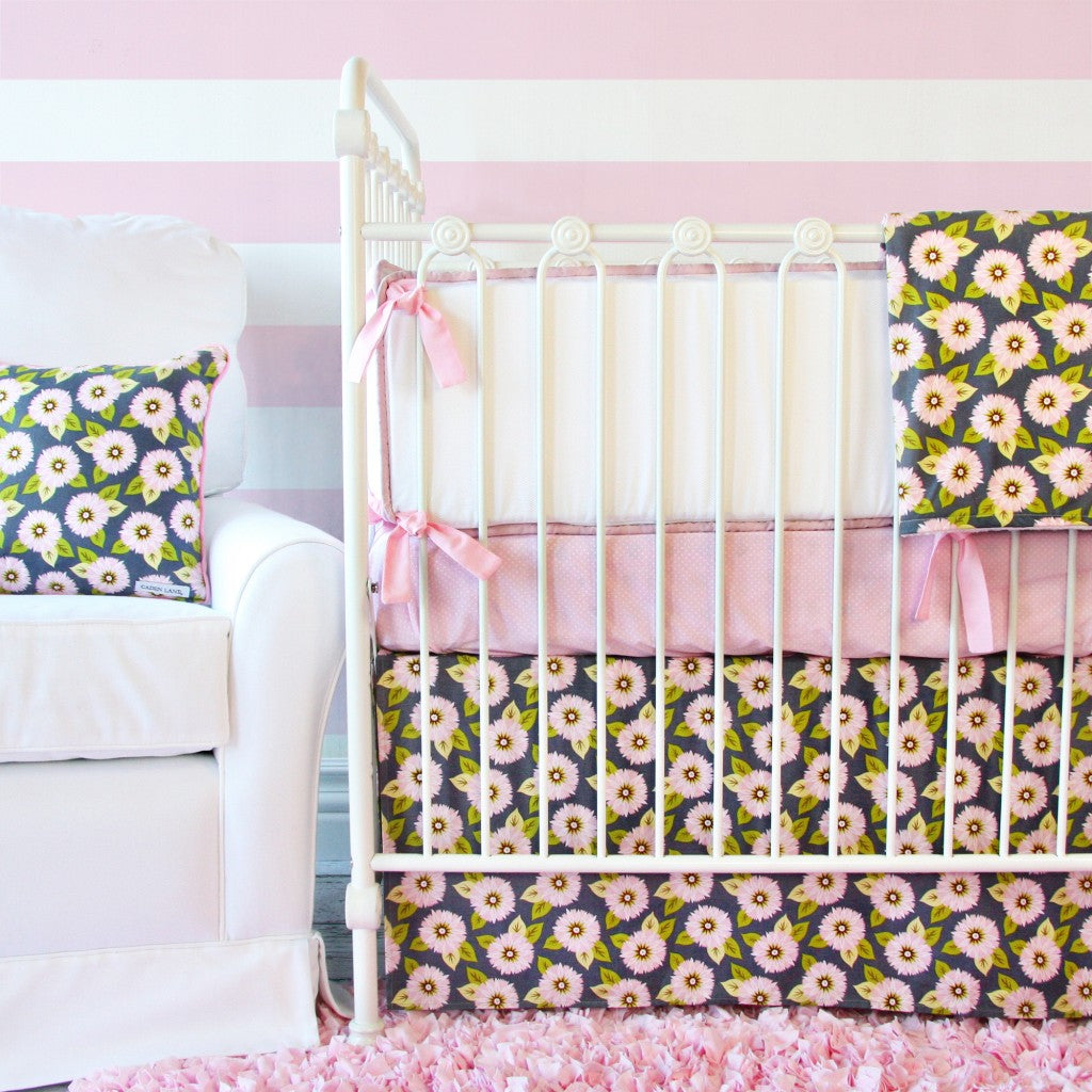 Pink & Gray floral baby girl bedding set