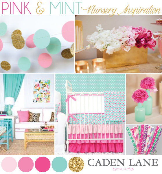 bright pink and mint nursery textiles