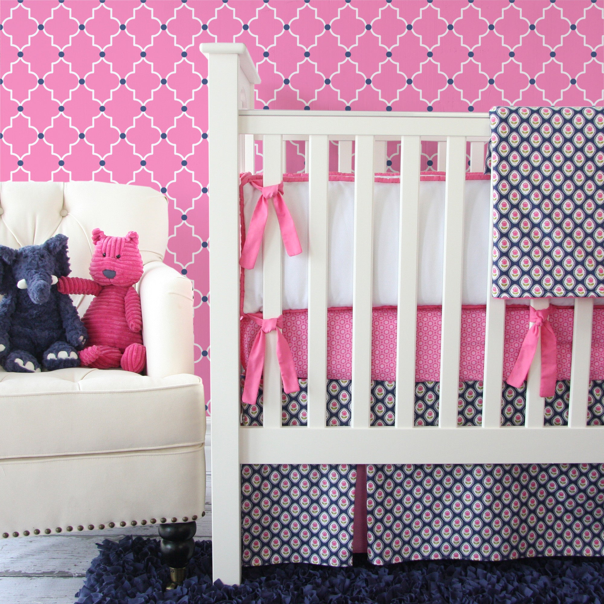pink and navy baby bedding