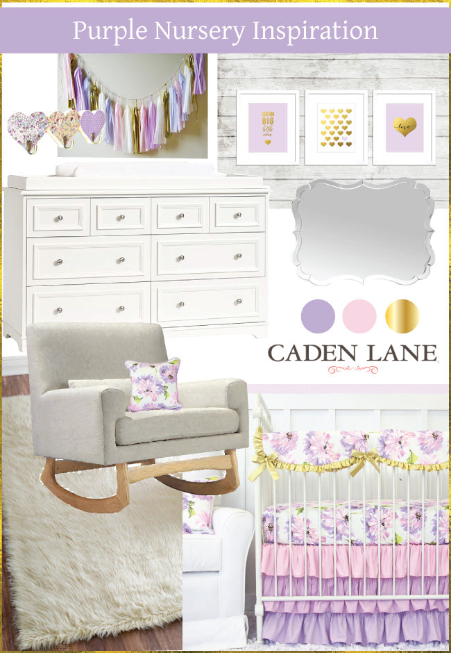 purple nursery inspiration with purple baby bedding