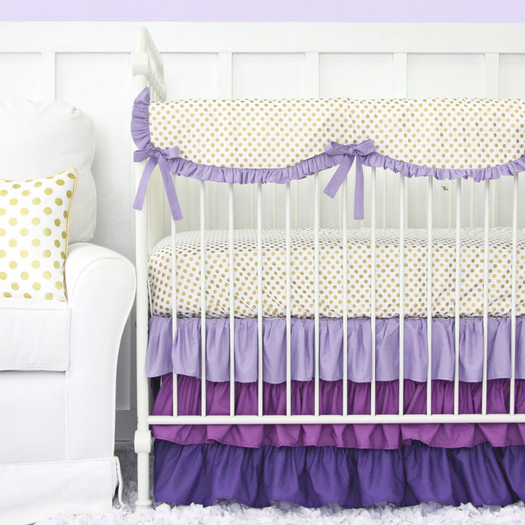 Lilac and Gold Dot Crib Set