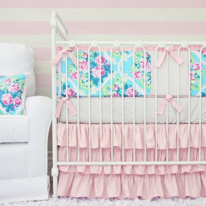 Sweet Girly Floral Crib Bedding
