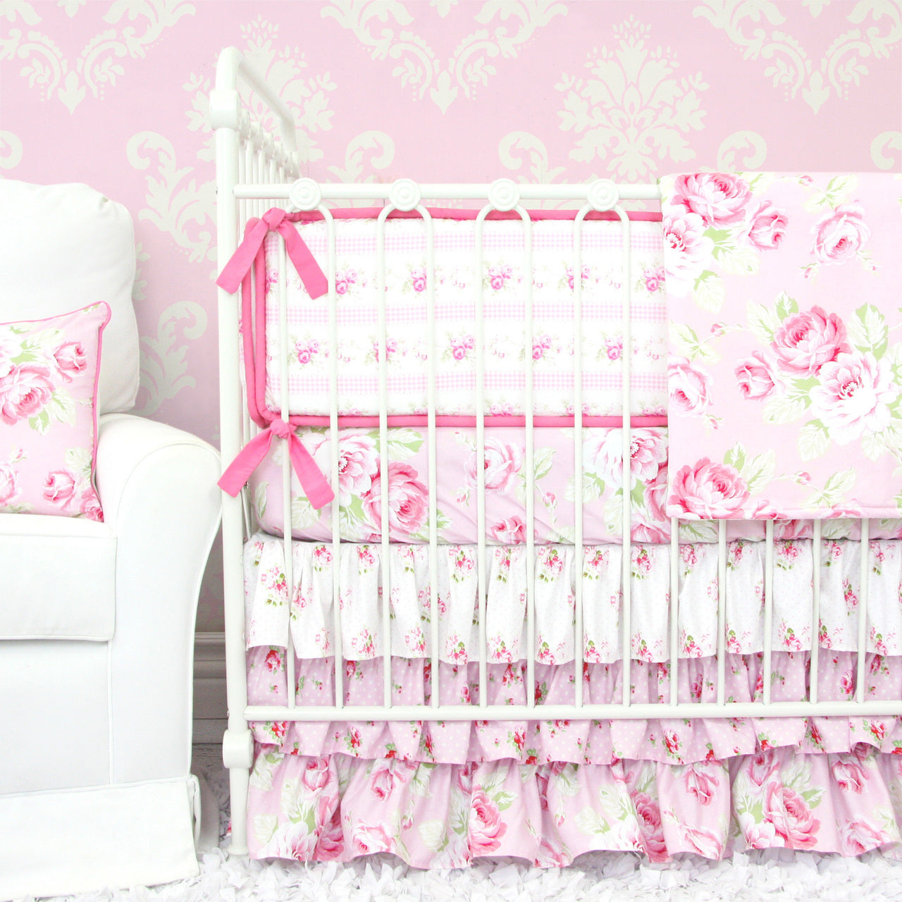 Girly Pink Nursery Decor: 3 Pink Floral Crib Bedding Sets For A Girly Nursery