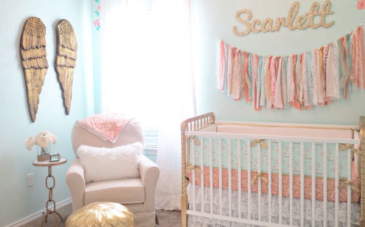 Color Coordinating in the nursery with the crib bedding