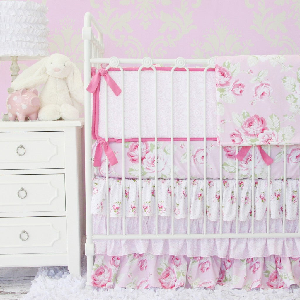 shabby chic rose floral baby bedding