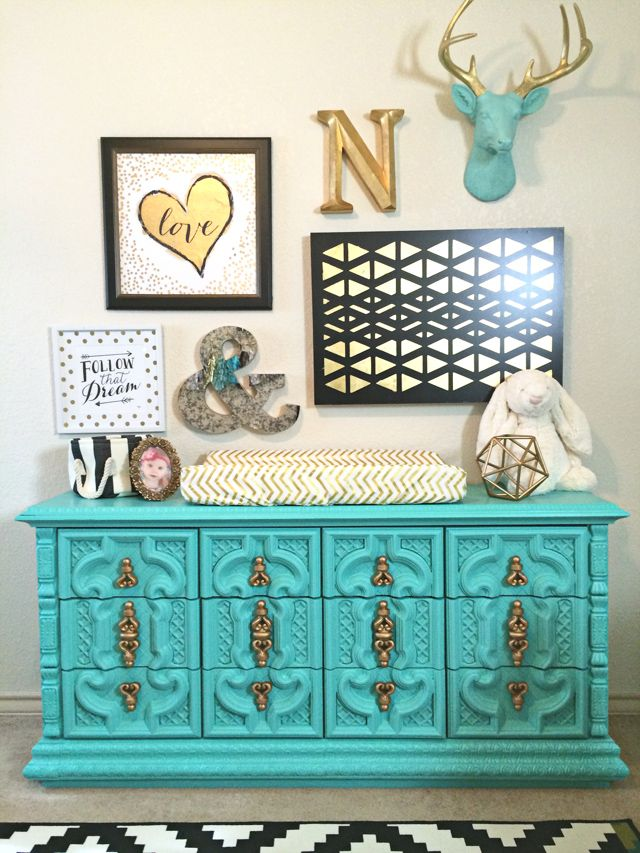 Turquoise Dresser with gold chevron changing pad cover