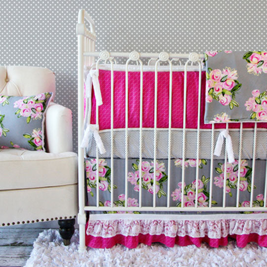 pink and gray floral baby bedding