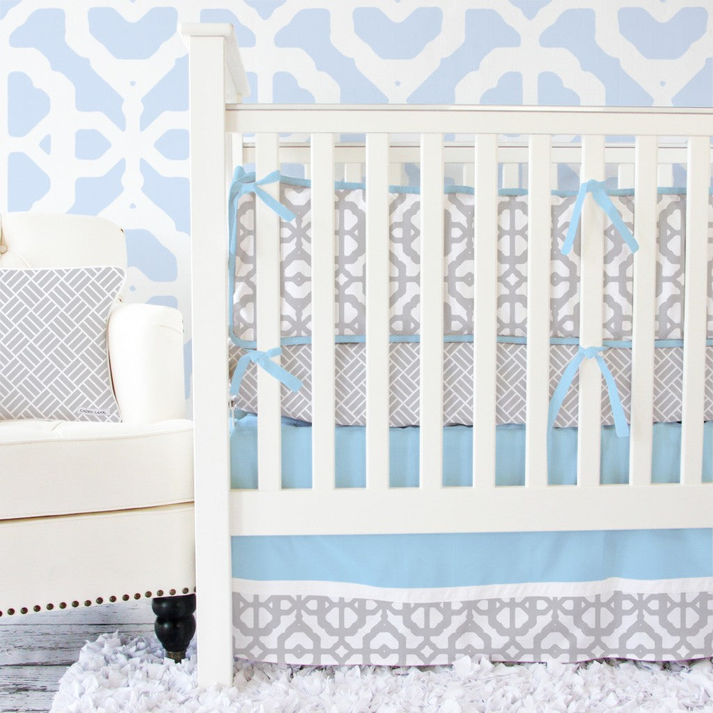 Blue and Gray Modern Baby Bedding