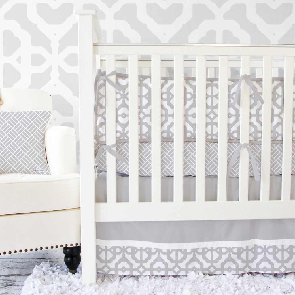 Gray and White Modern Baby Bedding