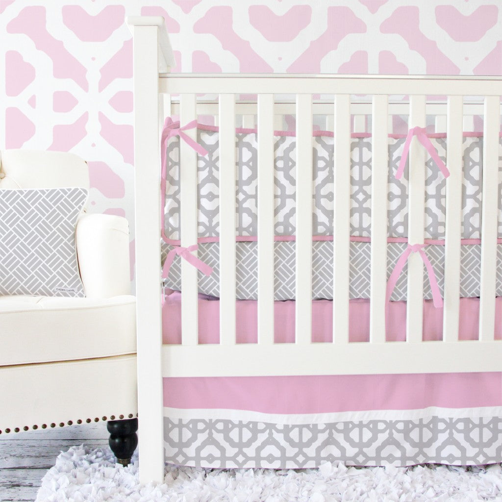 pink and gray modern baby bedding