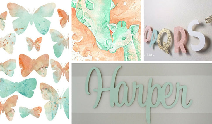 Peach and Mint Nursery Wall Decor