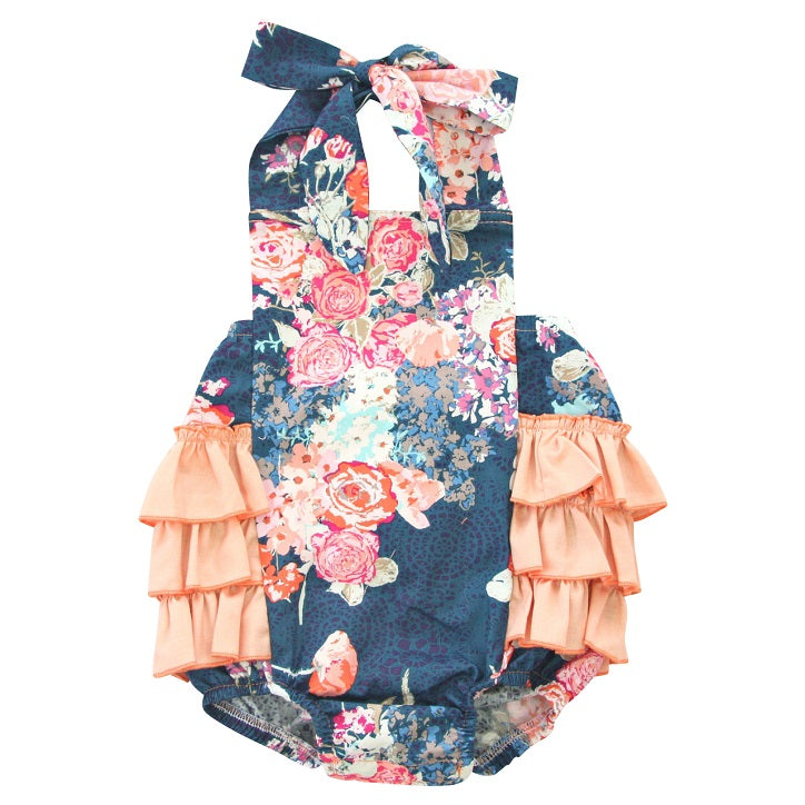 Navy Floral Romper Spring Outfit