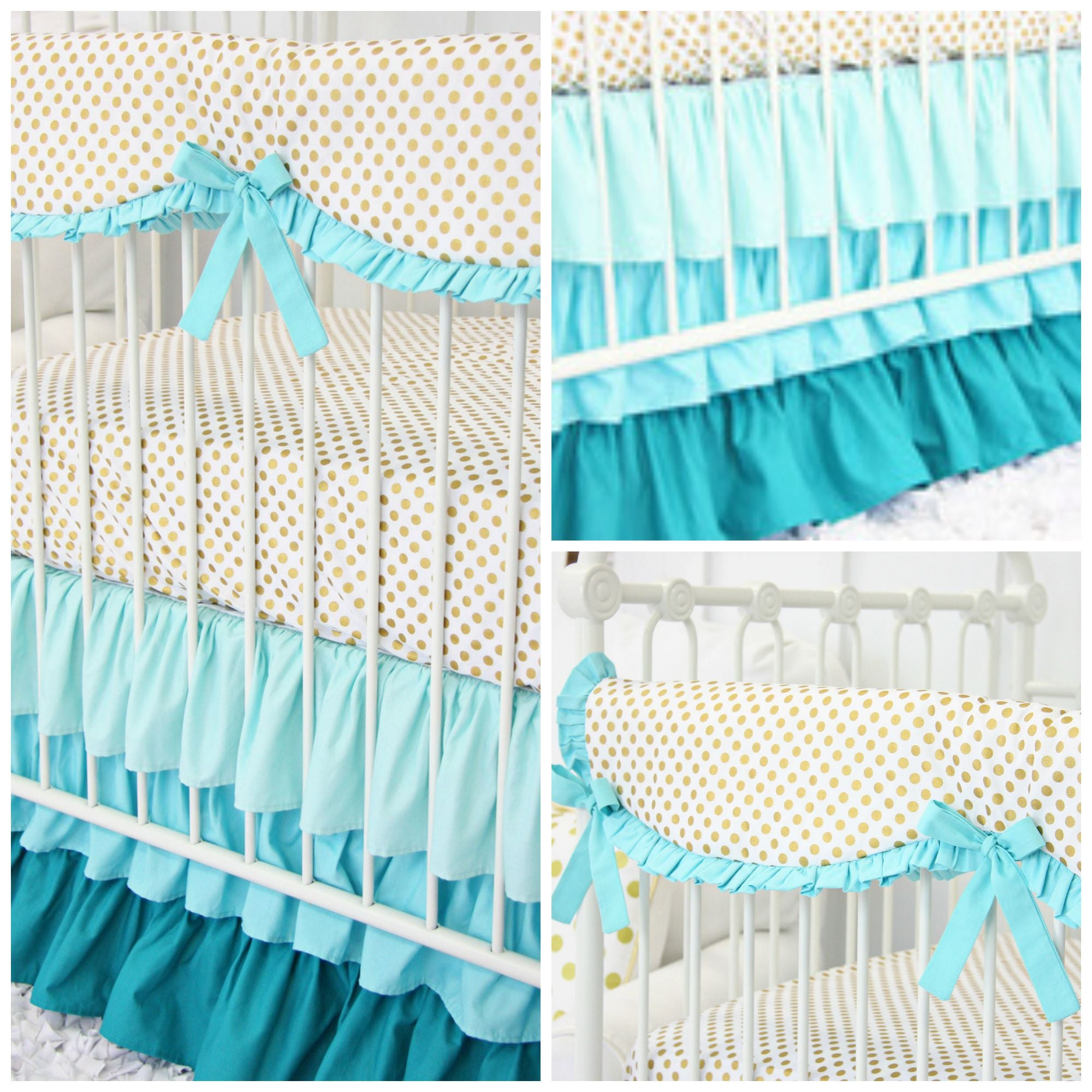 aqua & gold dot baby bedding that's perfect for an aqua nursery design