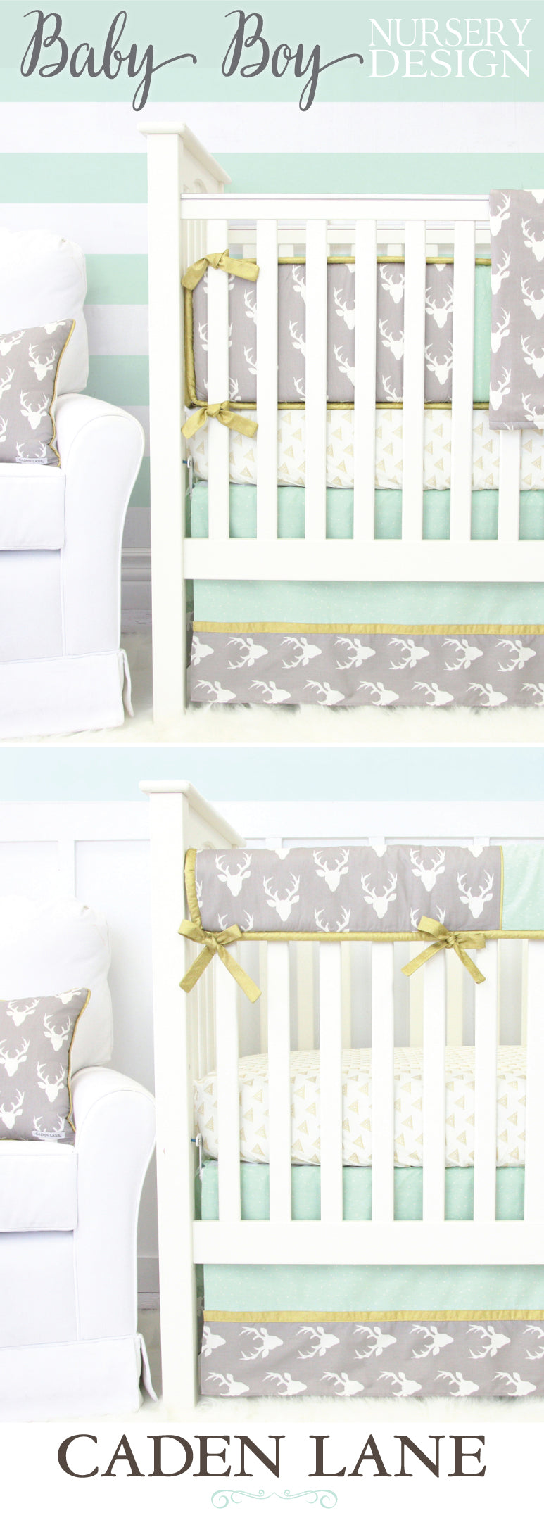 Mint & Gray Woodlands Crib Bedding for a Boy Nursery Design