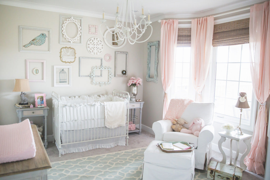 ballet pink curtains help create a sweet, chic and elegant nursery