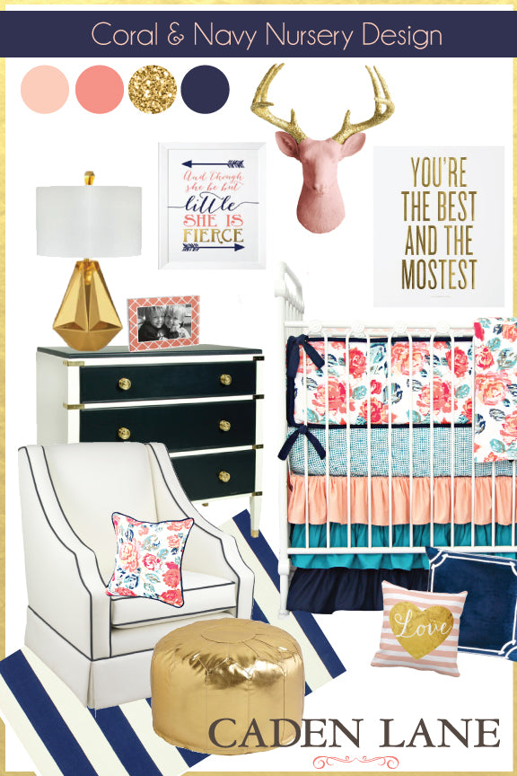 coral nursery ideas: coral navy & gold nursery color palette