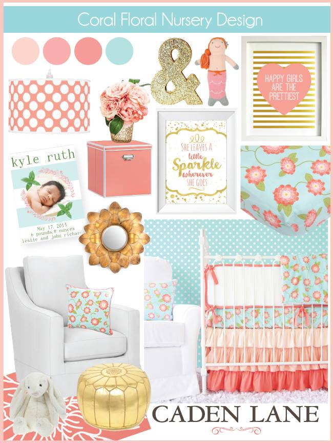 Coral Nursery Ideas: Coral Aqua & Gold Color Palette