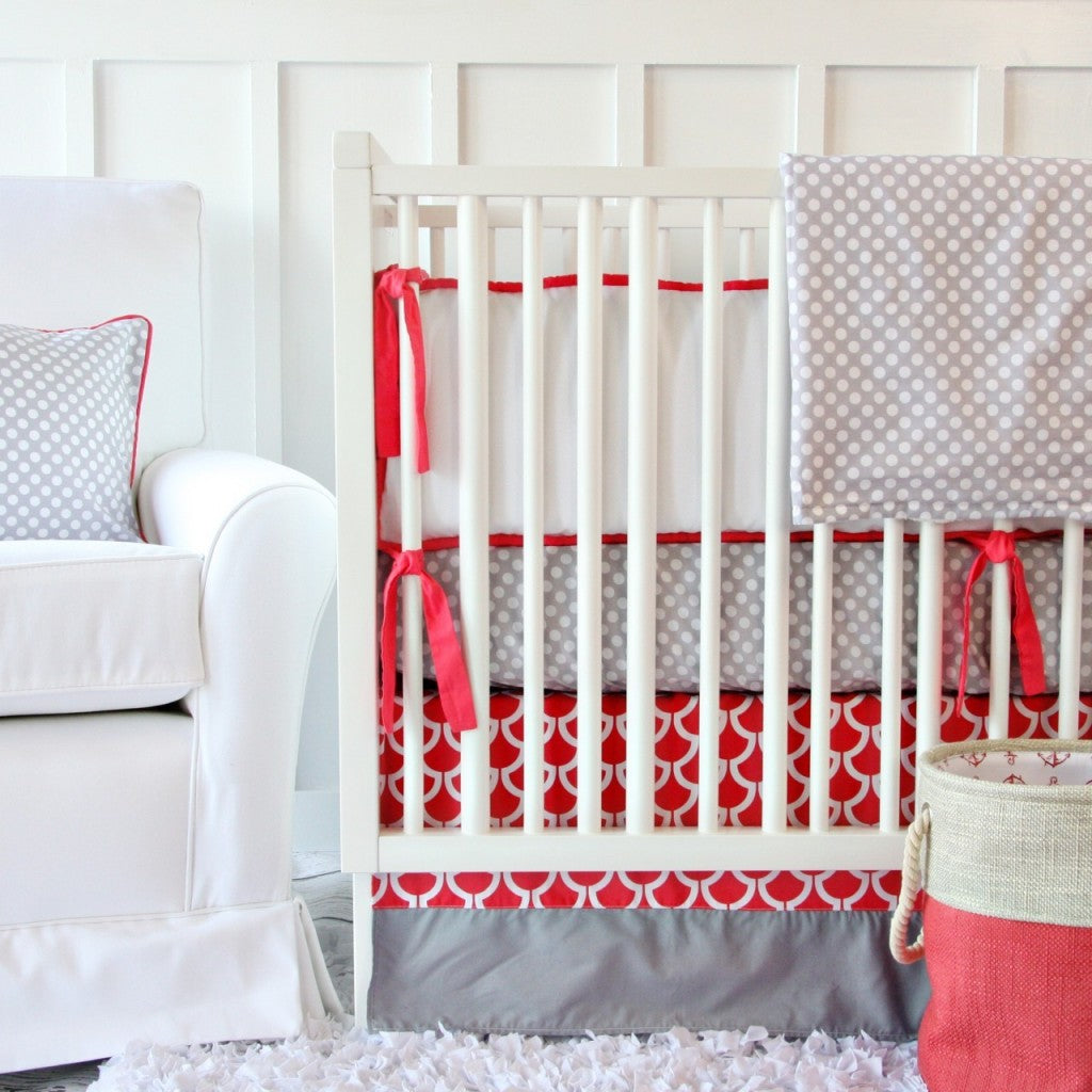 Coral and Gray Geometric Bedding