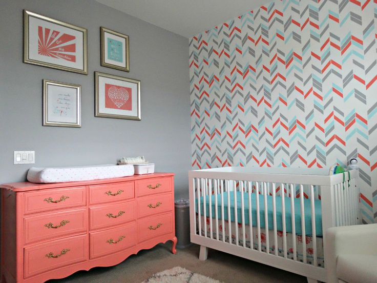 Coral, Aqua and Gray nursery