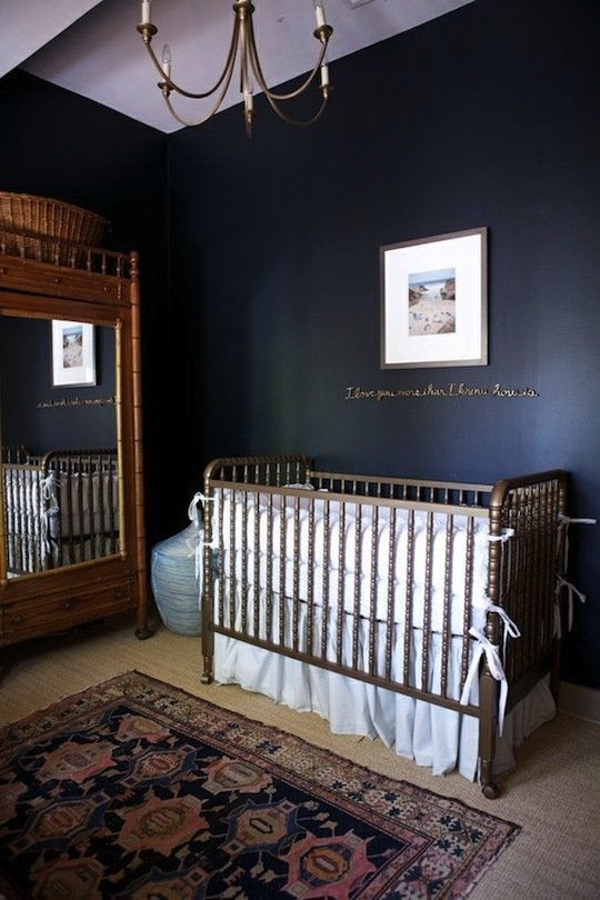 A dark blue, elegant nursery accent wall