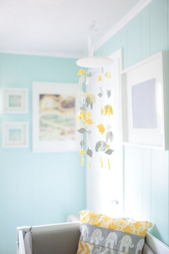 Yellow, grey, aqua, and elephants in a sweet nursery