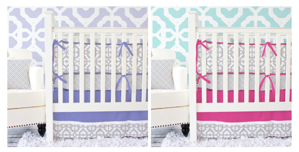 purple and gray baby bedding