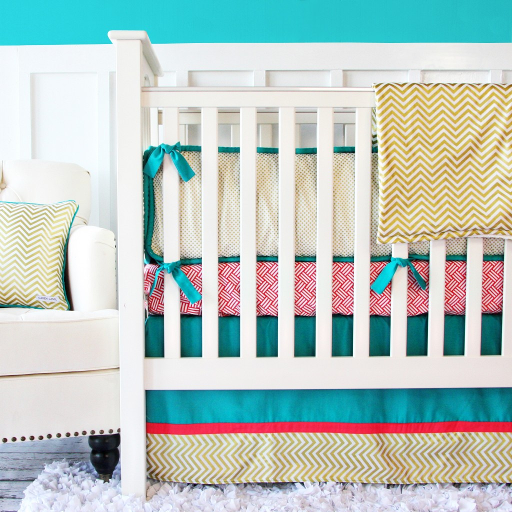 gold chevron crib set