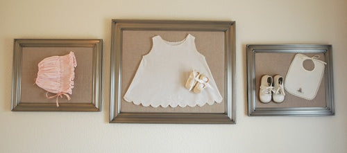 framed heirloom items in the nursery