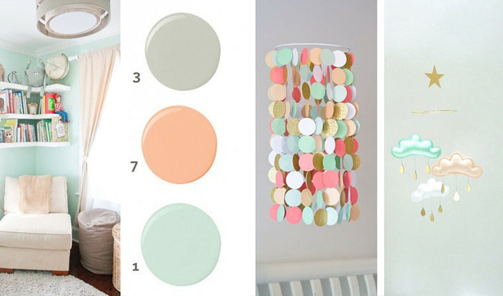 Peach & mint nursery bedding coordinating accessories