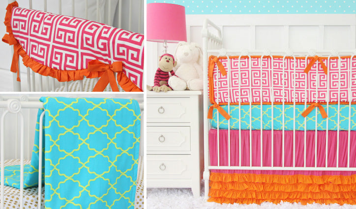 Kate's Key Bright and Fun Baby Girl Crib Bedding