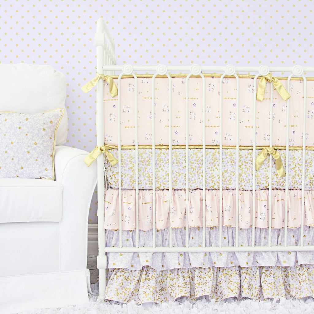 lilac and gold baby bedding