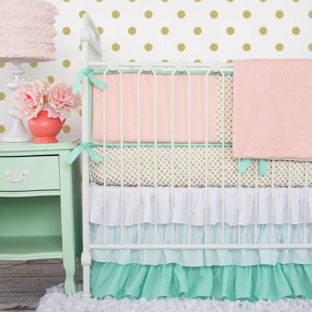 mint and coral baby bedding