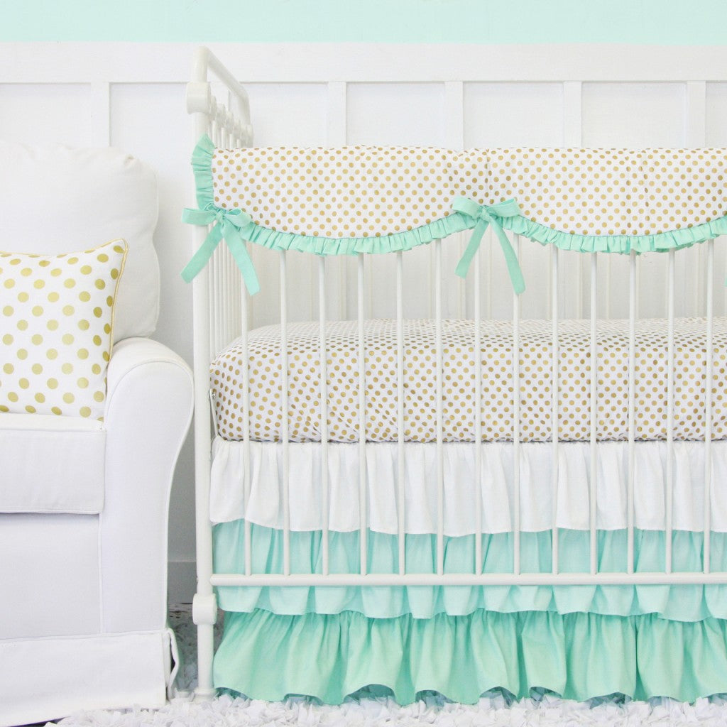 mint gold baby bedding