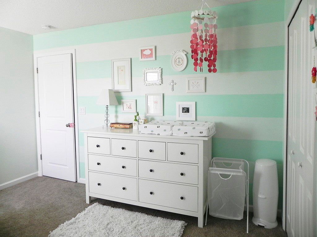 Mint Stripes help create a sweet nursery