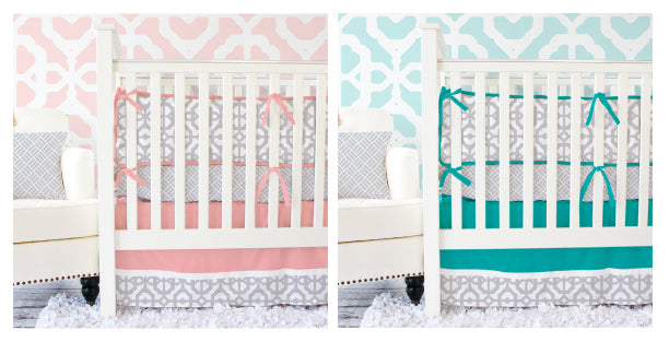 coral and gray baby bedding