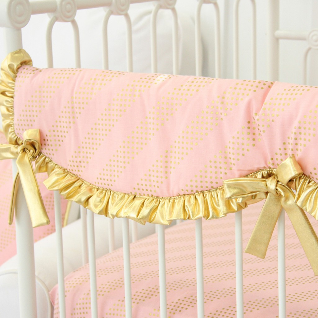 Gold and Pink Baby Bedding