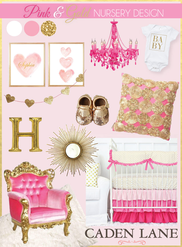 bright pink nursery with gold