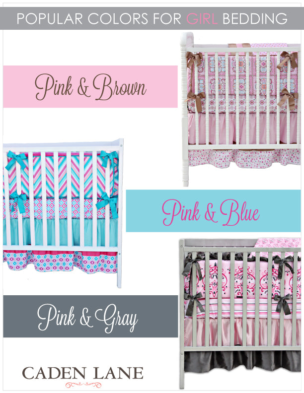 popular colors for girly baby bedding