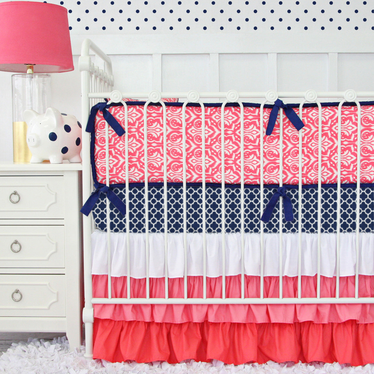 coral and navy damask crib bedding